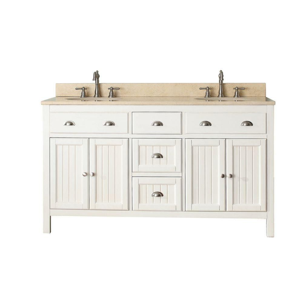 Hamilton 60-inch W Vanity in French White with Marble Top in Gala Beige
