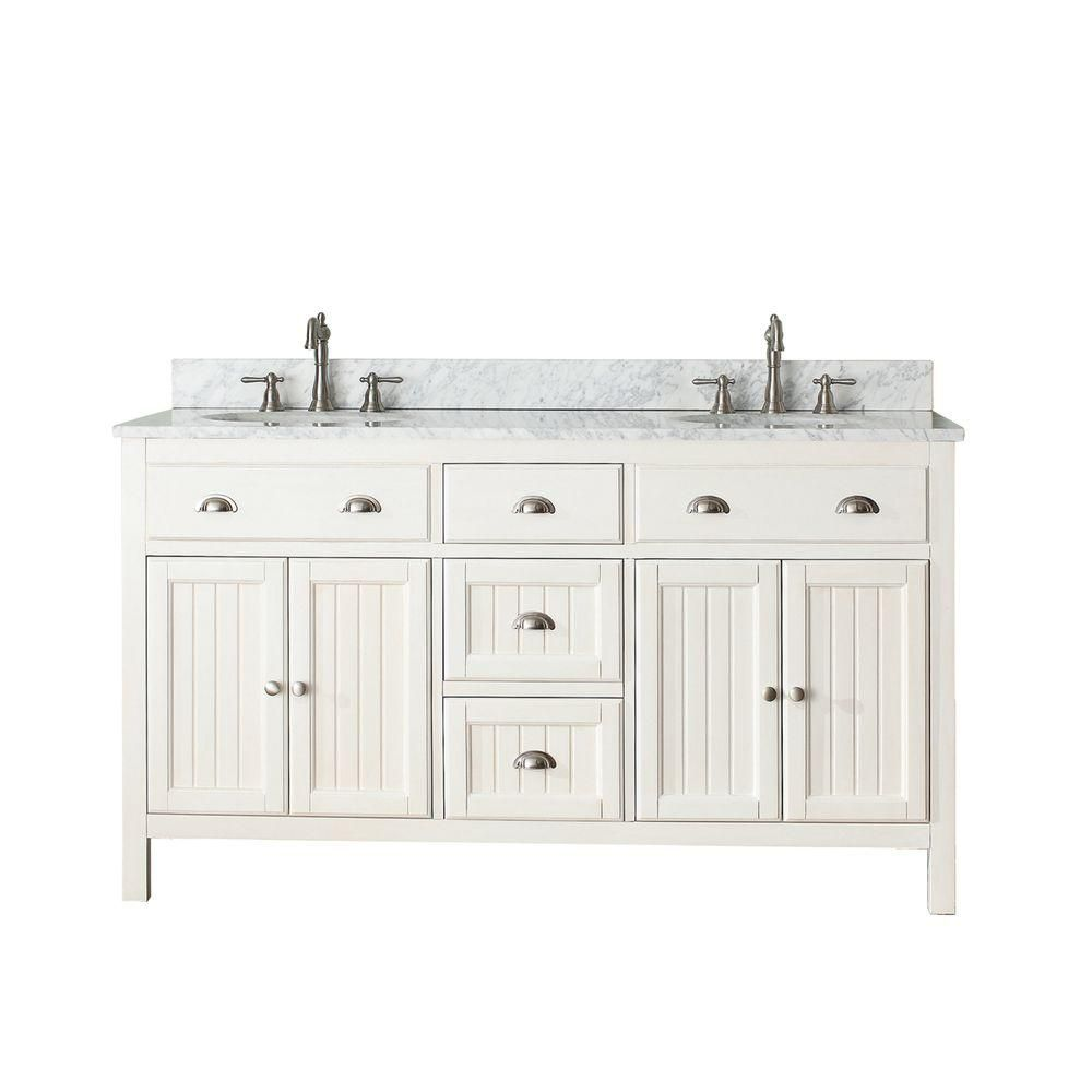 Hamilton 60-inch W Vanity in French White with Marble Top in Carrara White