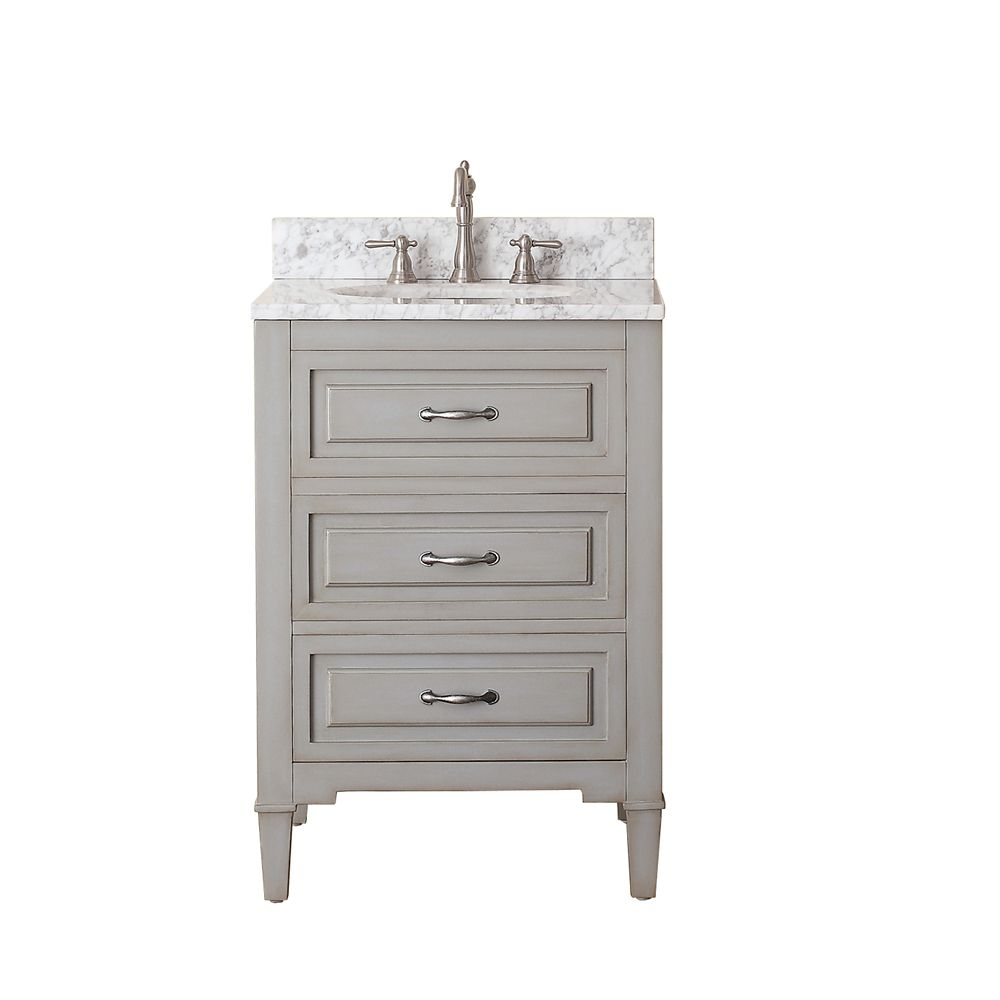 Avanity Kelly 24 Inch W Vanity In Greyish Blue Finish With Marble Top In Carrara White The