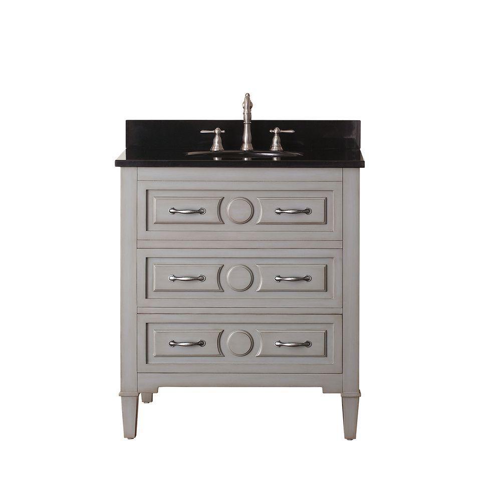Avanity Kelly 31-inch W 2-Drawer Freestanding Vanity in Grey With Granite Top in Black