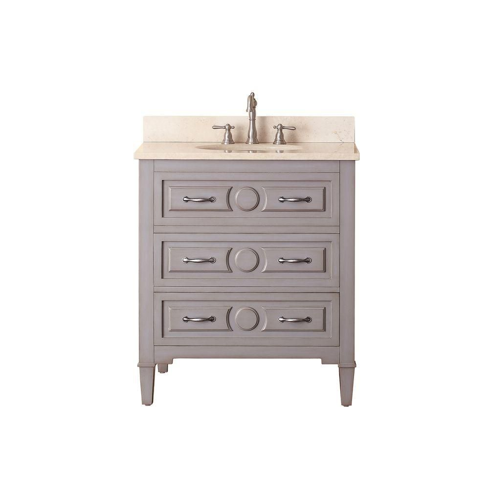 Kelly 30-inch W Vanity in Greyish Blue Finish with Marble Top in Gala Beige