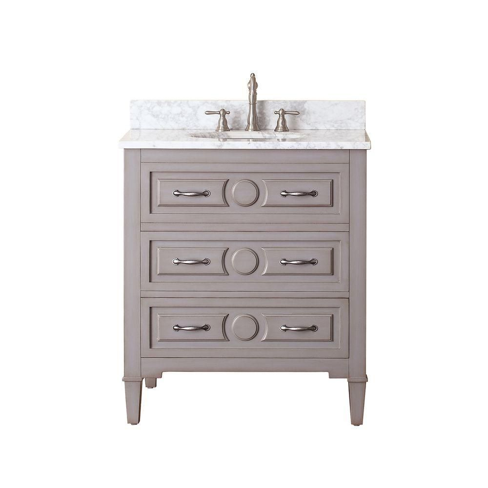 Kelly 31-inch W 2-Drawer Freestanding Vanity in Grey With Marble Top in White