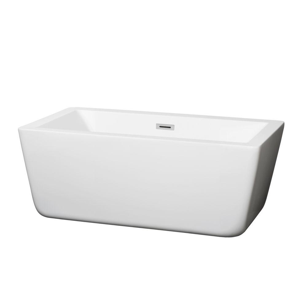 Wyndham Collection Laura 58.75-inch Acrylic Flatbottom Centre Drain Soaking Tub in White