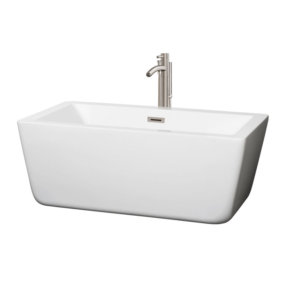 Laura 58.75-inch Acrylic Centre Drain Soaking Tub in White with Floor Mount Faucet in Brushed Nickel
