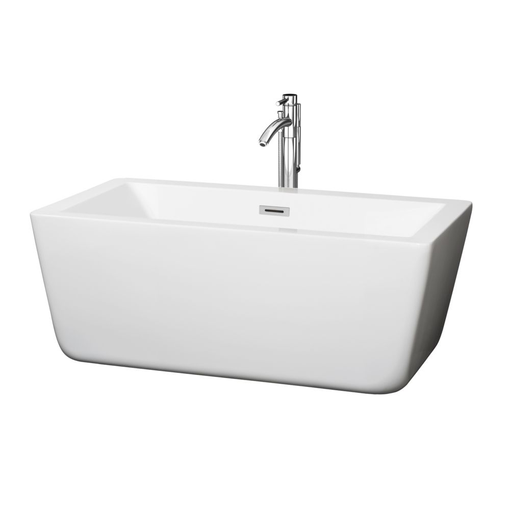 Wyndham Collection Laura 58.75-inch Acrylic Centre Drain Soaking Tub in White with Floor Mounted Faucet in Chrome