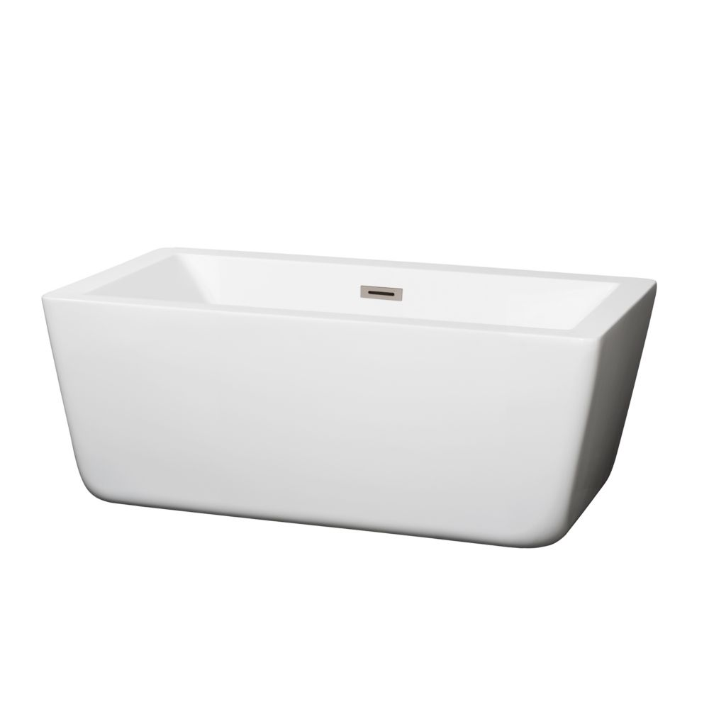 Wyndham Collection Laura 4.92 ft. Centre Drain Soaking Tub in White