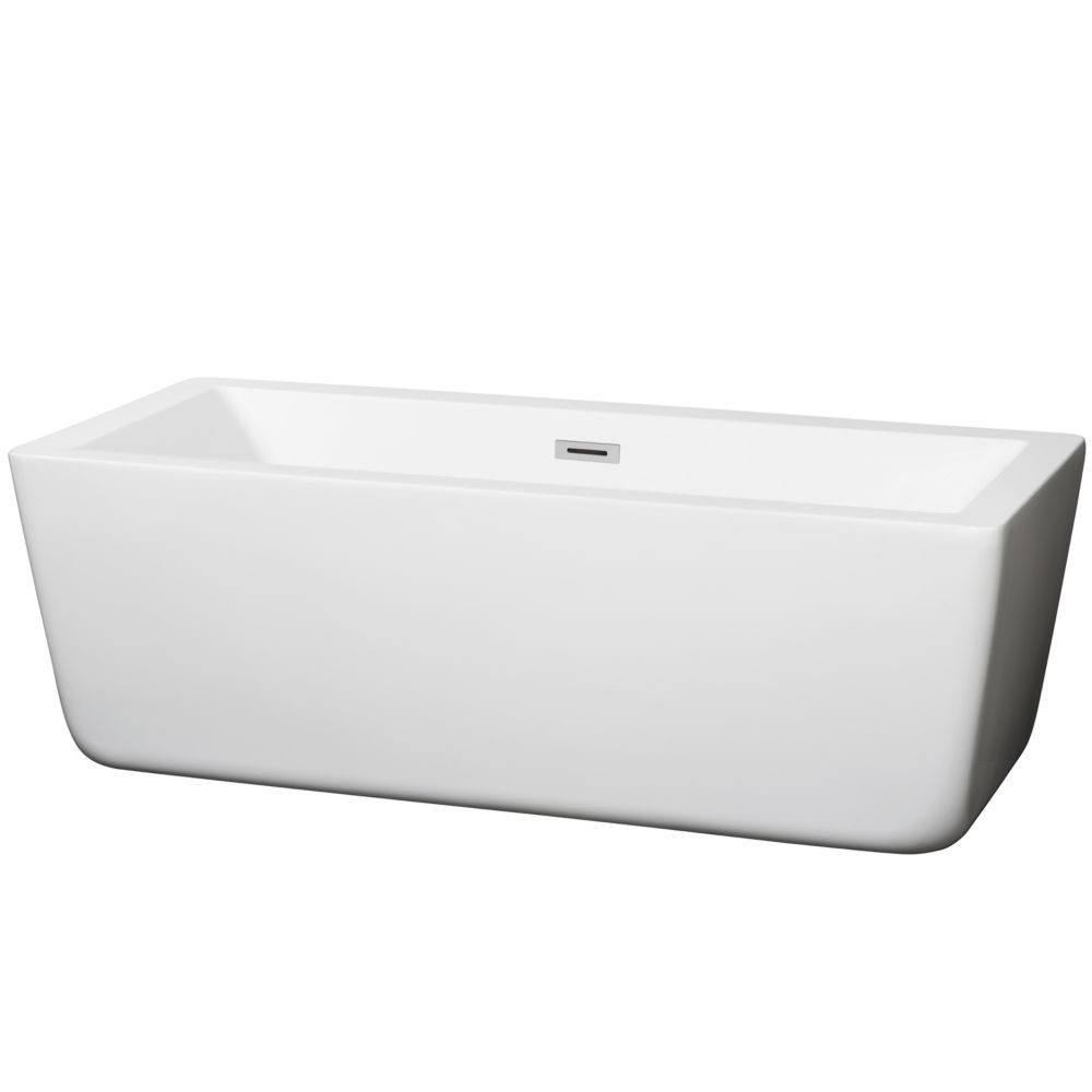 Wyndham Collection Laura 66.5-inch Acrylic Flatbottom Centre Drain Soaking Tub in White