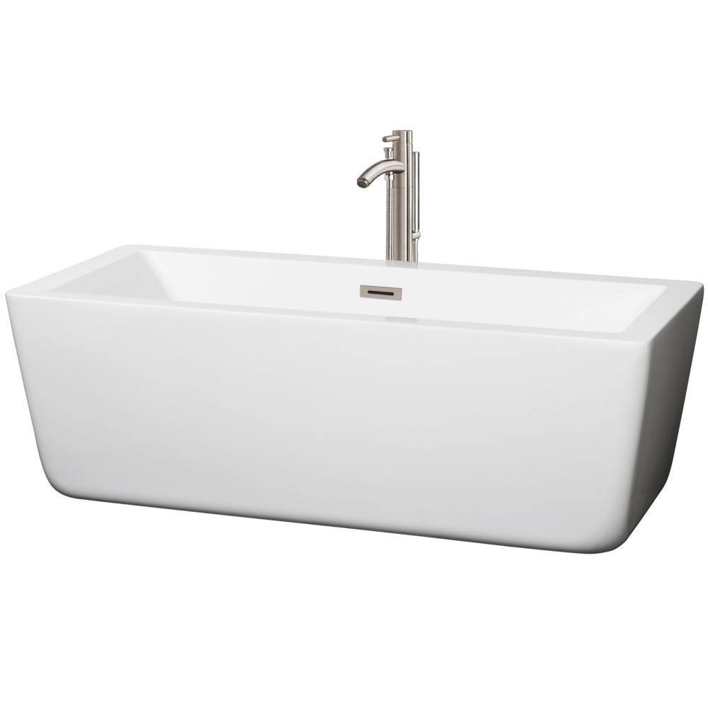 Wyndham Collection Laura 66.5-inch Acrylic Centre Drain Soaking Tub in White with Floor Mount Faucet in Brushed Nickel