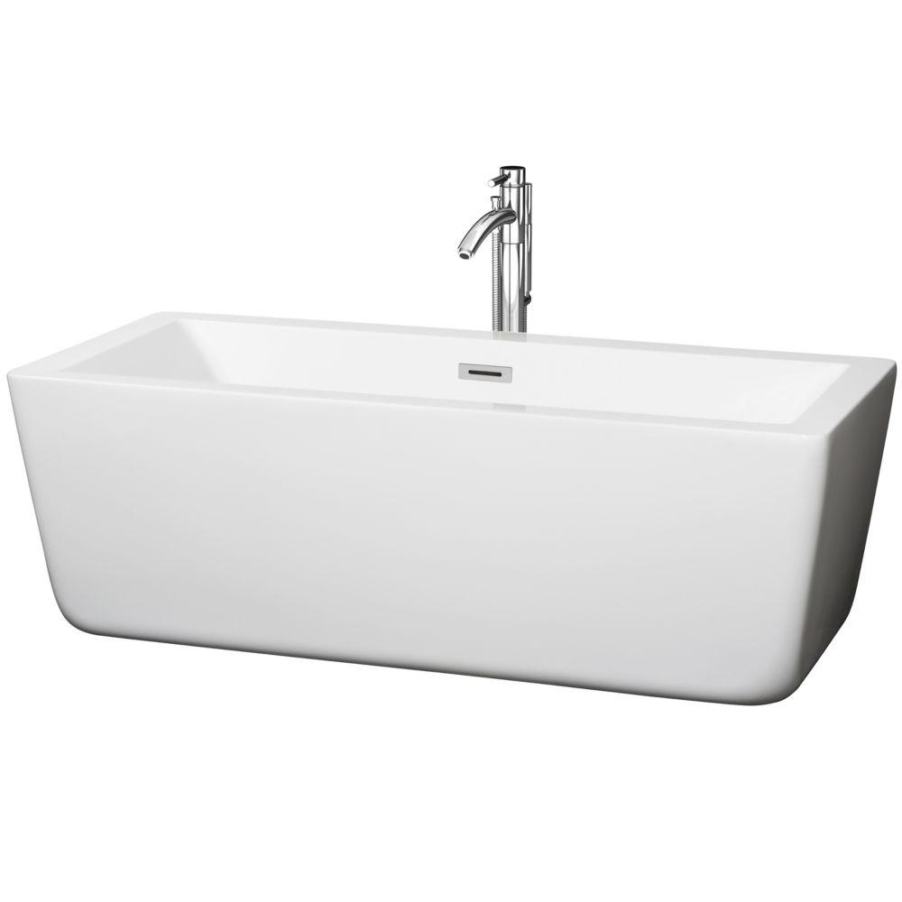 Laura 1,7m 5,58pi Baignoire détente blanche avec drain centré et robinet chromé fixé au sol