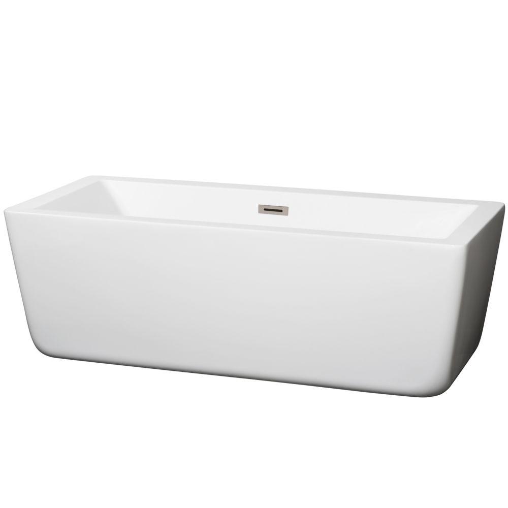 Laura 5 Feet 7-Inch Soaker Bathtub with Centre Drain in White