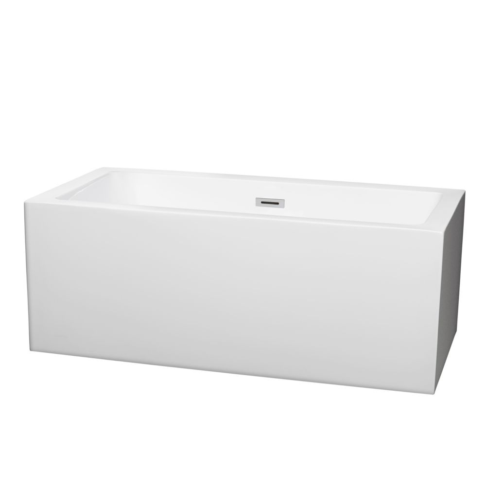 Wyndham Collection Melody 59.5-inch Acrylic Flatbottom Centre Drain Soaking Tub in White