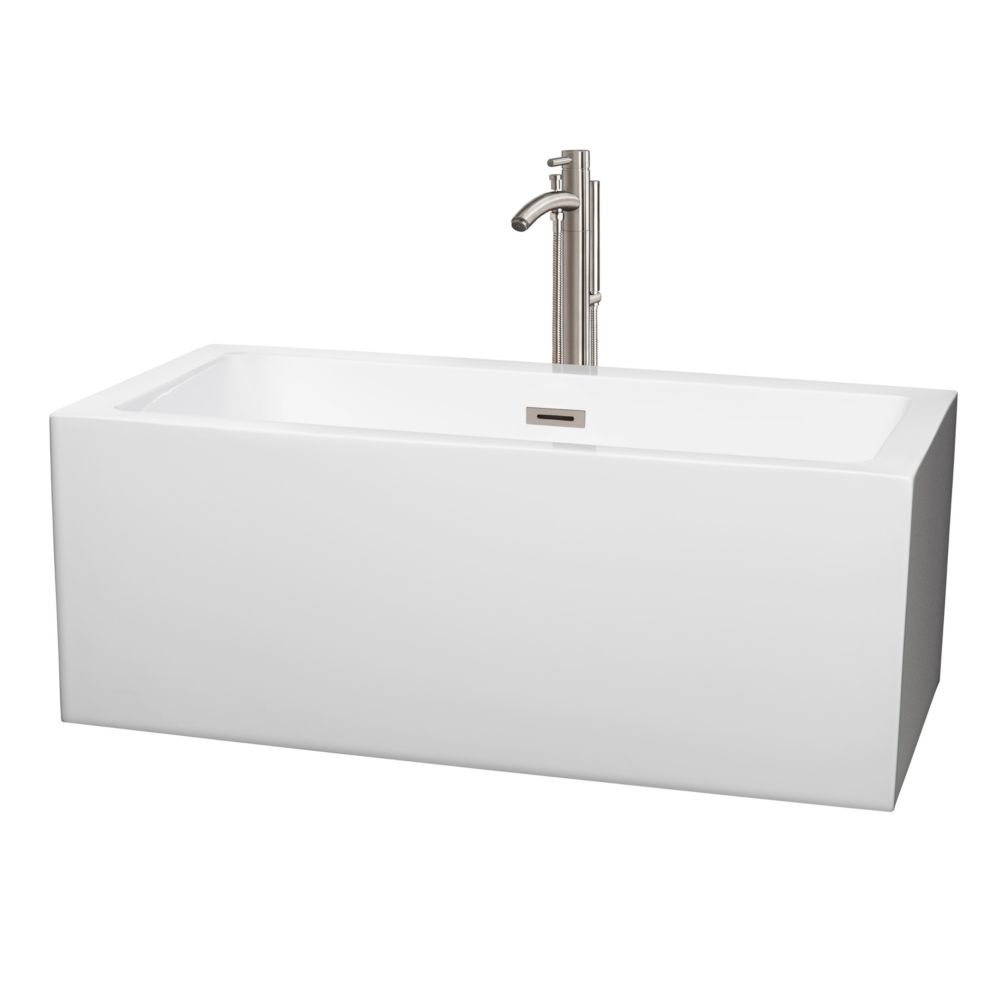 Wyndham Collection Melody 59.5-inch Acrylic Centre Drain Soaking Tub in White with Floor Mount Faucet in Brushed Nickel