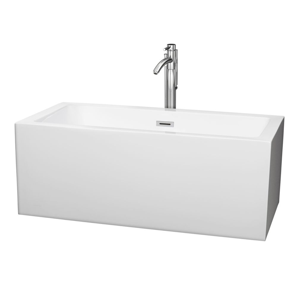 Melody 5 Feet Soaker Bathtub with Centre Drain and Floor Mounted Faucet in Chrome