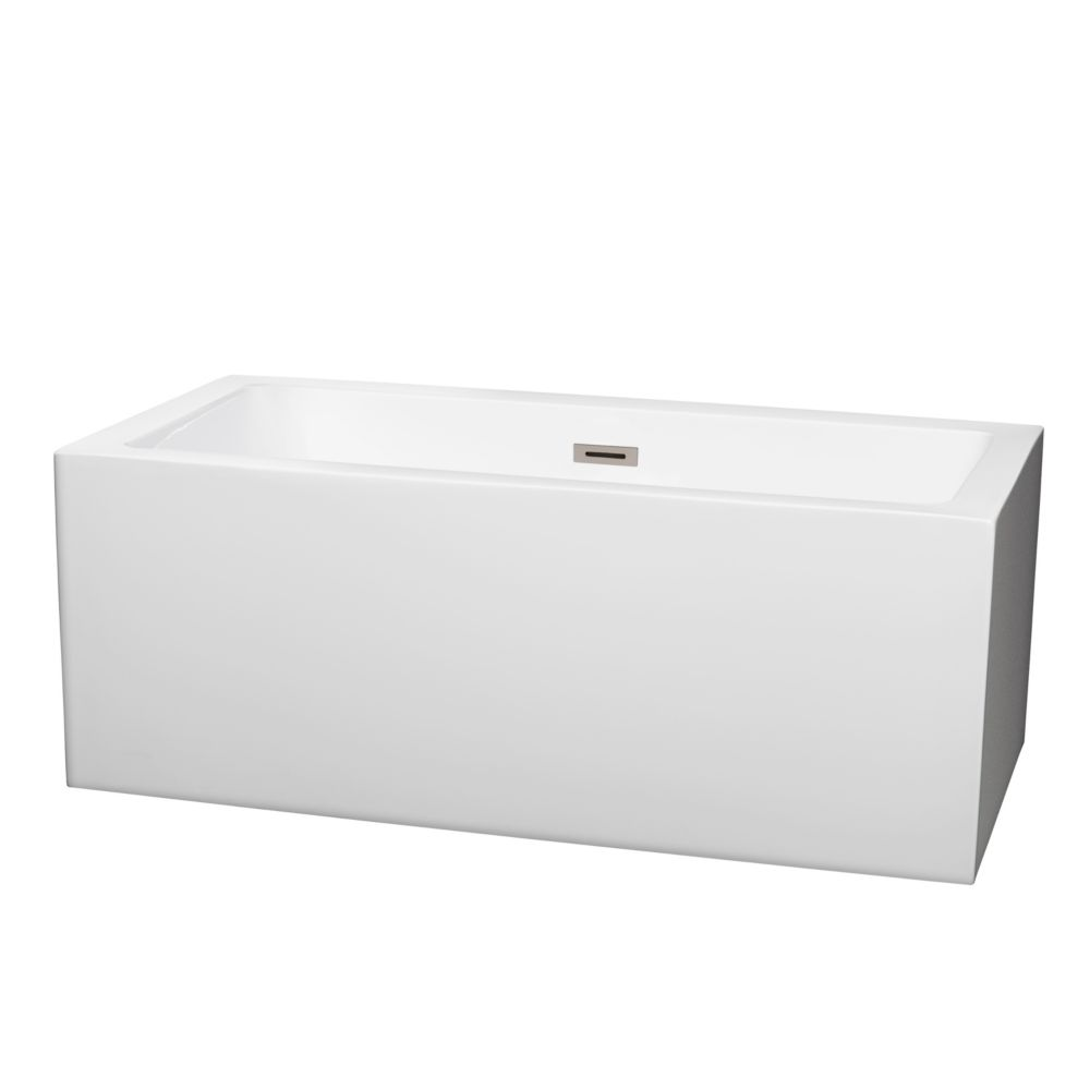 Wyndham Collection Melody 5 ft. Centre Drain Soaking Tub in White