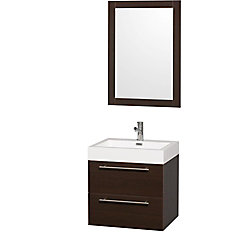 Wyndham Collection Amare 24-inch W 2-Drawer Wall Mounted Vanity in Brown With Acrylic Top in White With Mirror