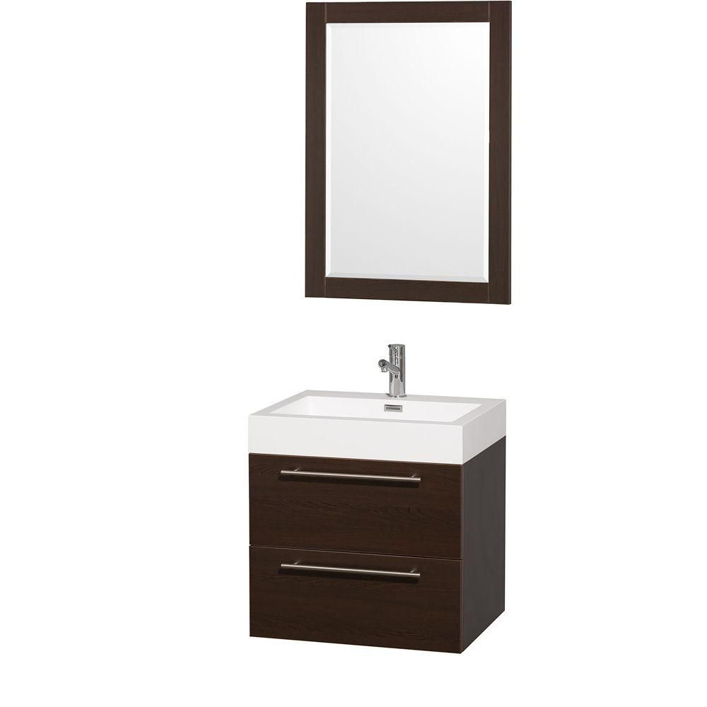 Amare 24-inch W Vanity in Espresso with Acrylic-Resin Top in White and Integrated Sink