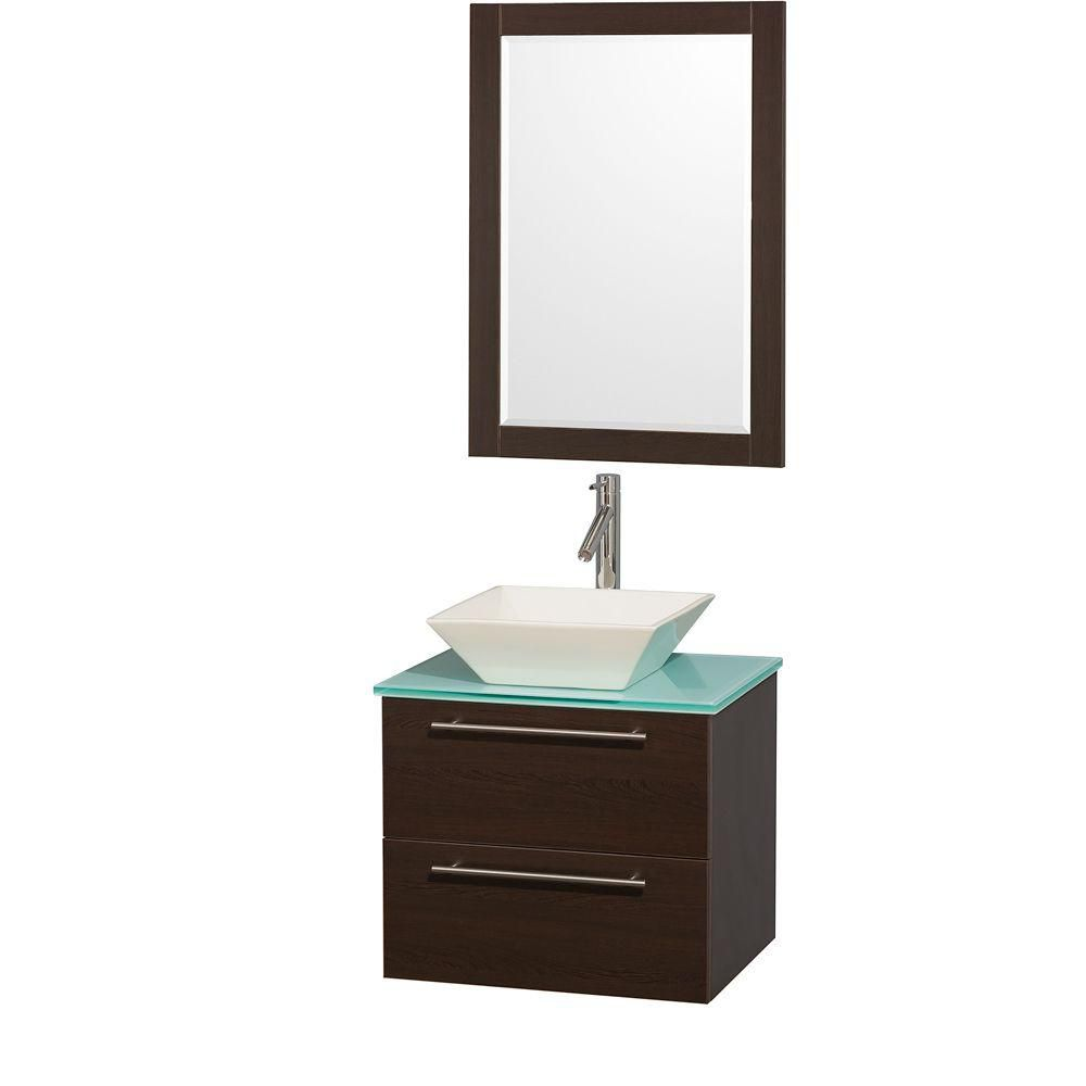 Amare 24-inch W Vanity in Espresso with Glass Top in Aqua and Bone Porcelain Sink