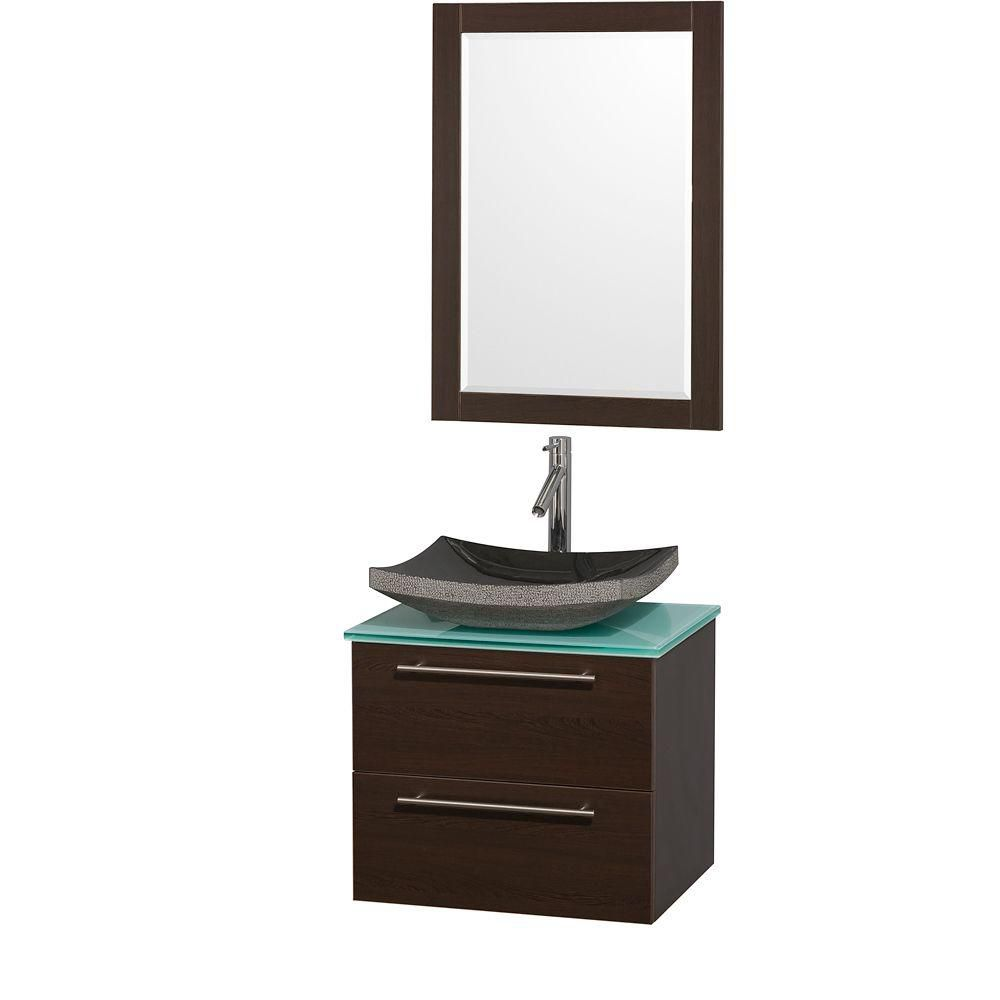 Amare 24-inch W Vanity in Espresso with Glass Top in Aqua and Black Granite Sink
