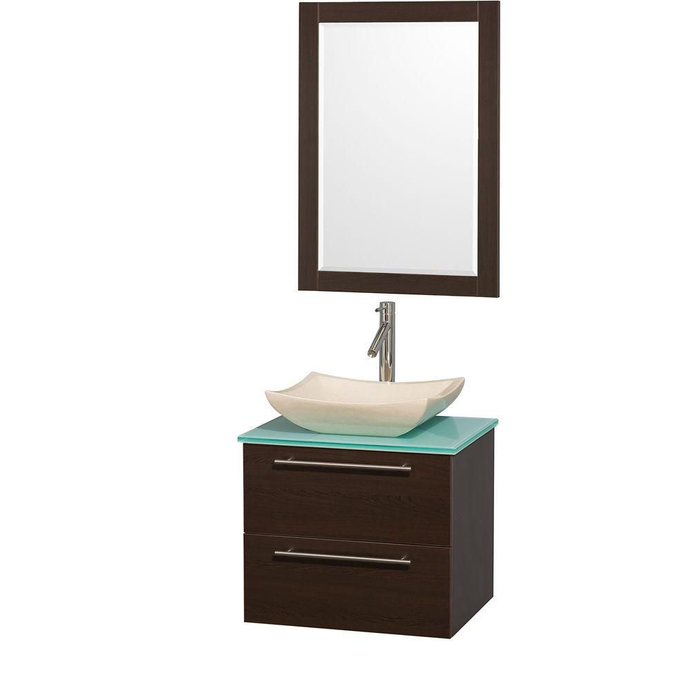 Amare 24-inch W 2-Drawer Wall Mounted Vanity in Brown With Top in Green With Mirror
