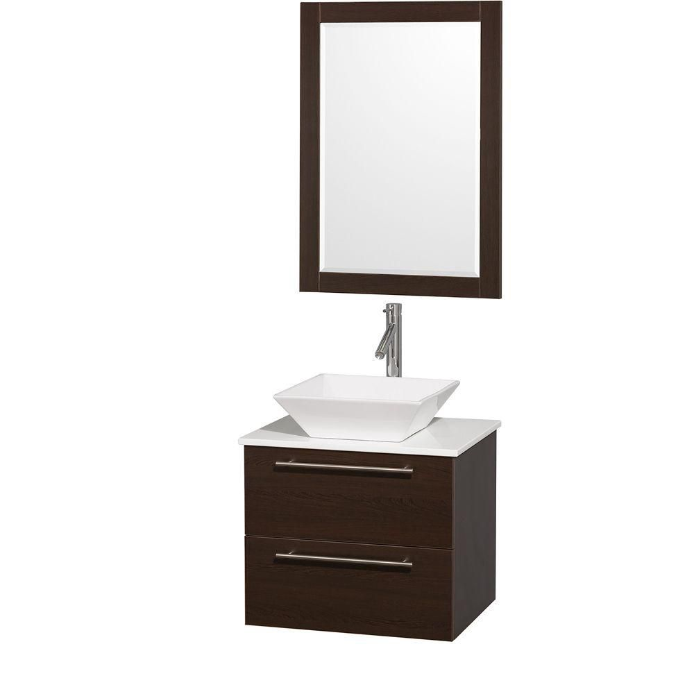 Amare 24-inch W Vanity in Espresso with Stone Top in White and White Porcelain Sink