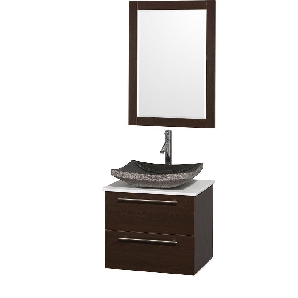 Amare 24-inch W Vanity in Espresso with Stone Top in White and Black Granite Sink
