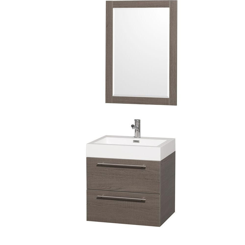 Amare 24-inch W Vanity in Grey Oak with Acrylic-Resin Top in White and Integrated Sink