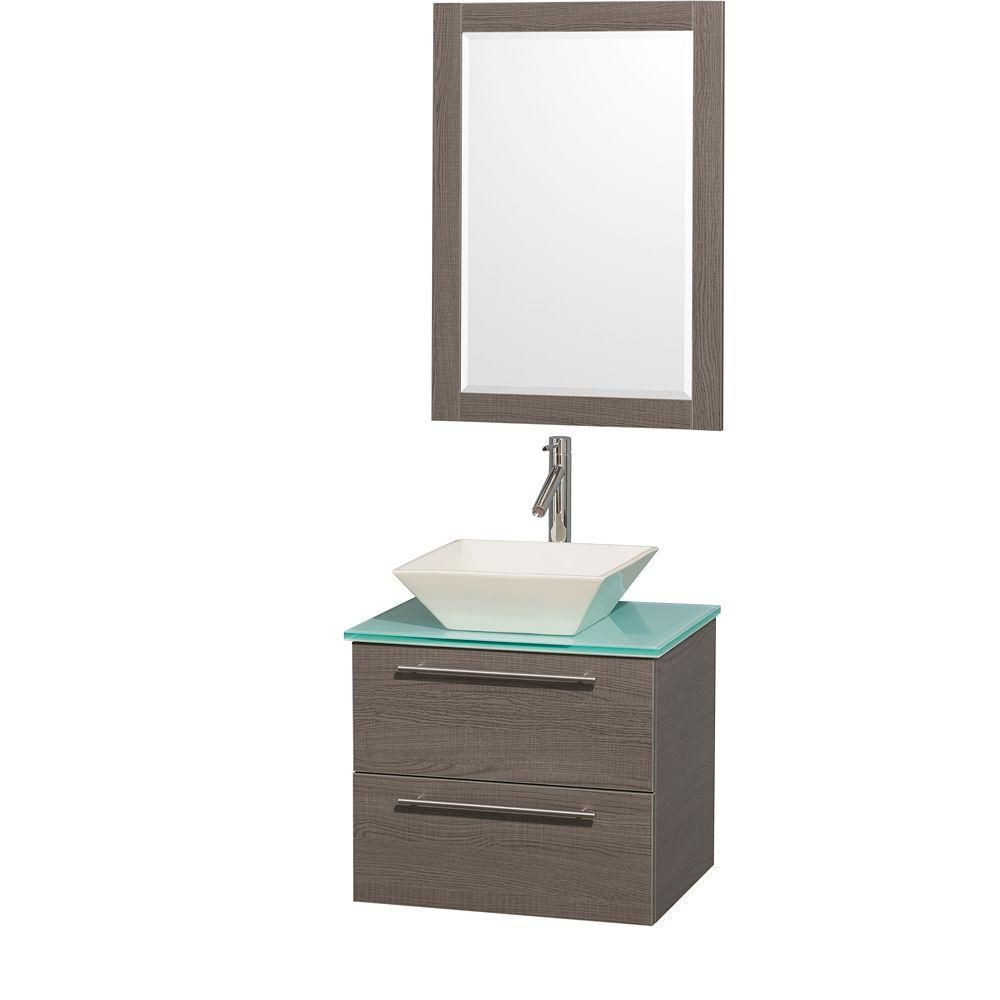 Amare 24-inch W Vanity in Grey Oak with Glass Top in Aqua and Bone Porcelain Sink