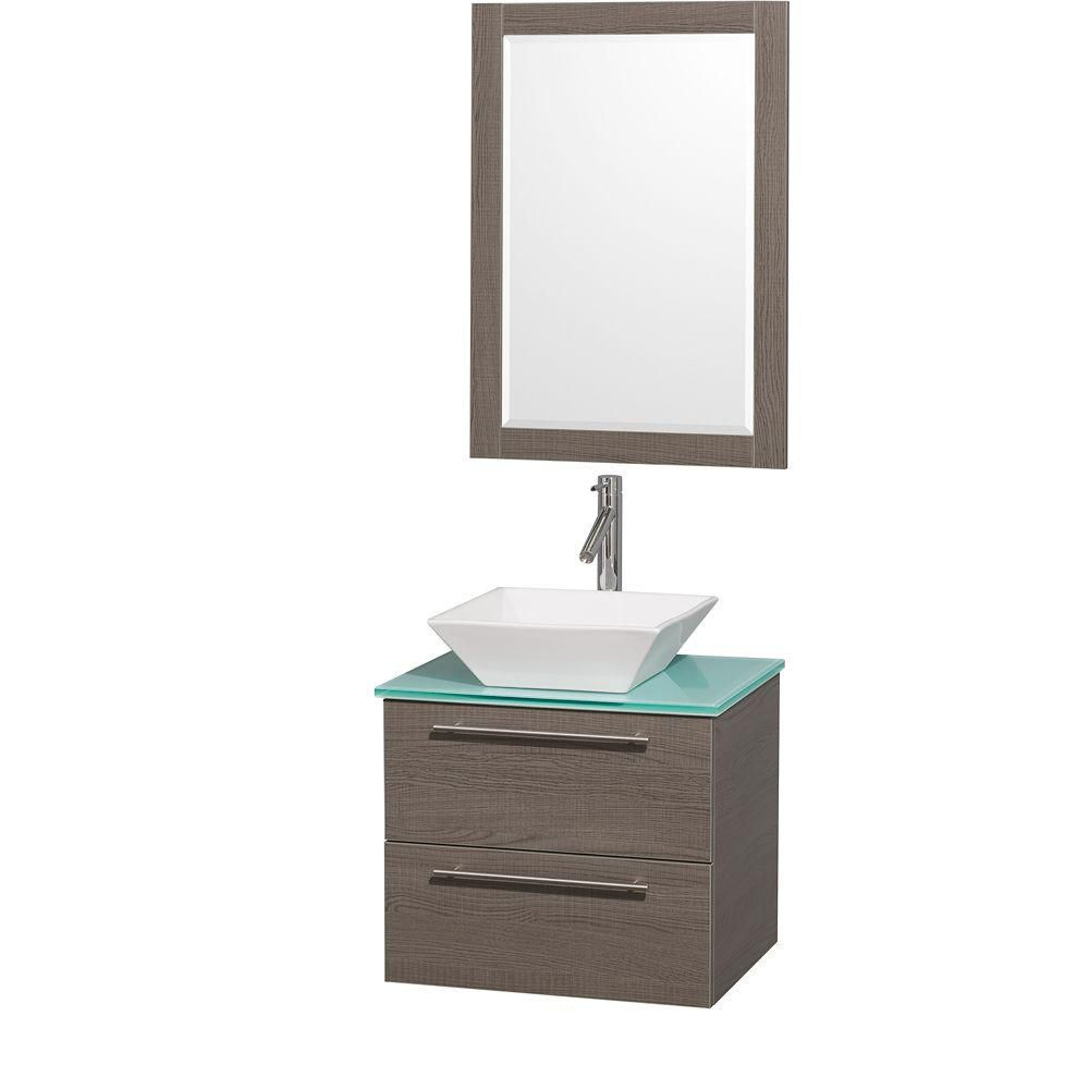 Amare 24-inch W Vanity in Grey Oak with Glass Top in Aqua and White Porcelain Sink