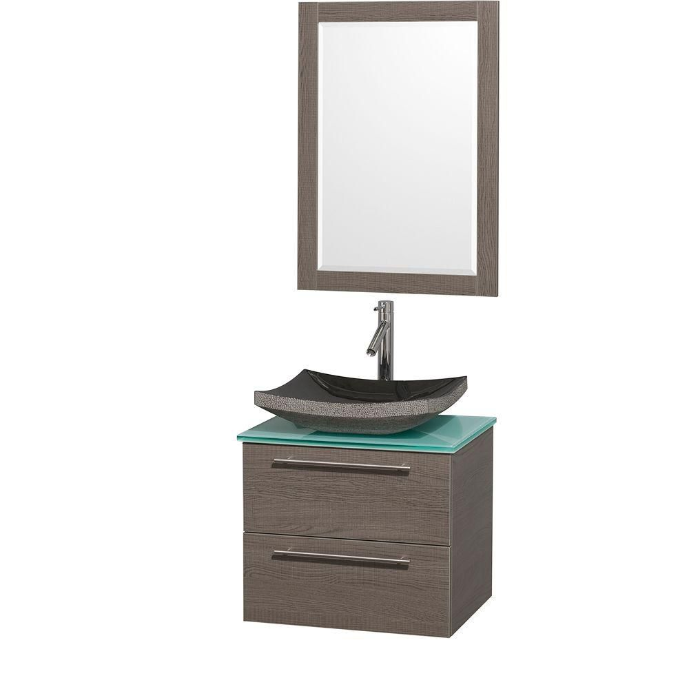 Amare 24-inch W Vanity in Grey Oak with Glass Top in Aqua and Black Granite Sink
