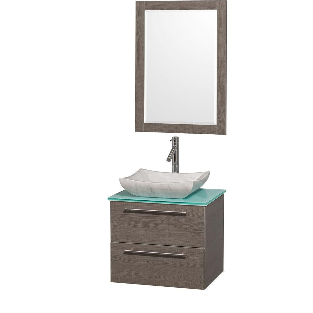 Amare 24-inch W Vanity in Grey Oak with Glass Top in Aqua and Carrara Marble Sink