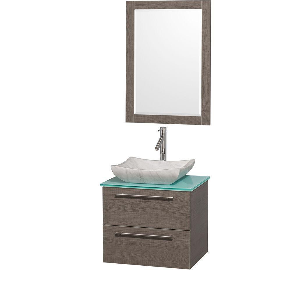 Amare 24 po Meuble chêne gris et revêtement en verre effet eau et évier en marbre de Carrare