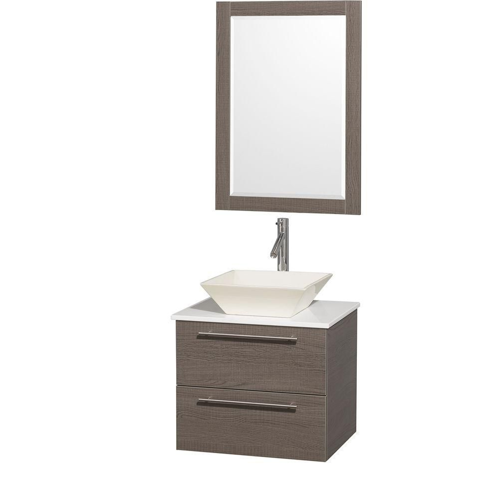 Amare 24-inch W Vanity in Grey Oak with Stone Top in White and Bone Porcelain Sink