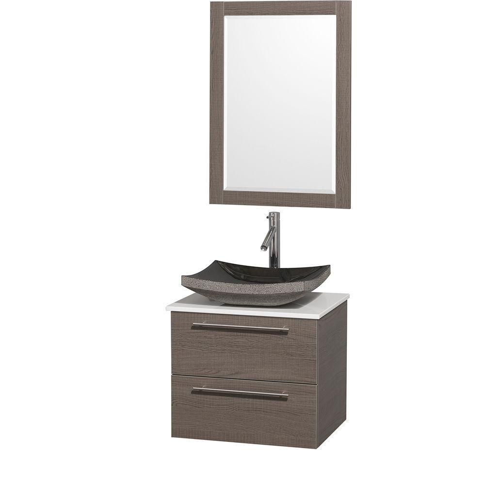 Amare 24-inch W Vanity in Grey Oak with Stone Top in White and Black Granite Sink