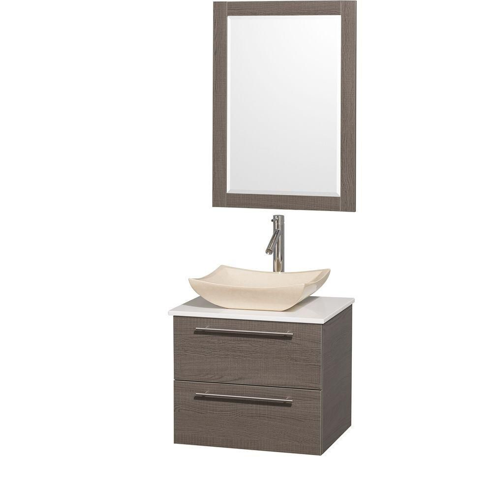 Wyndham Collection Amare 24-inch W 2-Drawer Wall Mounted Vanity in Grey With Artificial Stone Top in White With Mirror