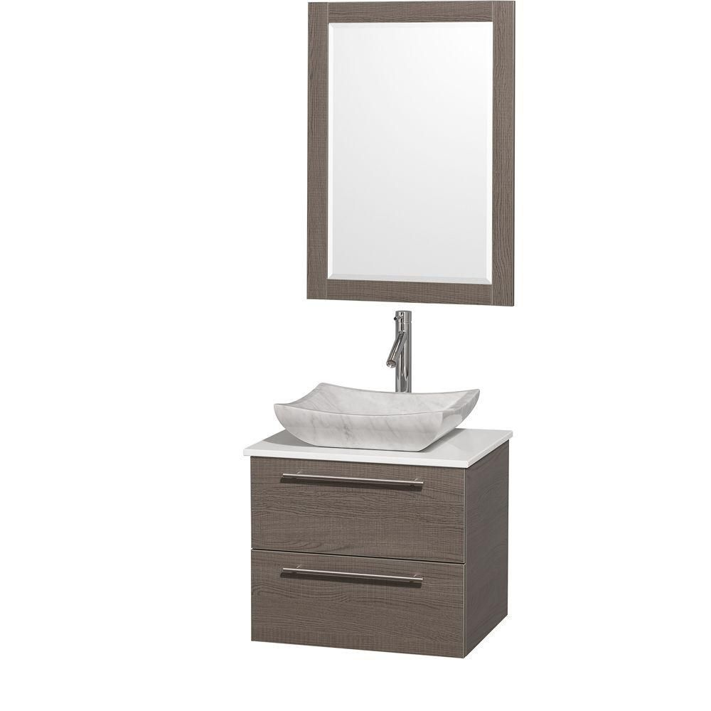Amare 24-inch W Vanity in Grey Oak with Stone Top in White and Carrara Marble Sink