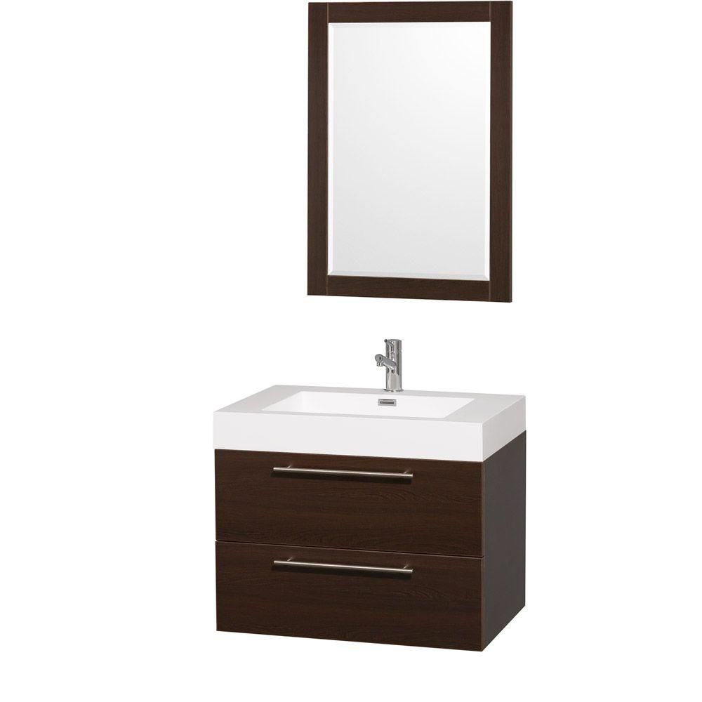 Wyndham Collection Amare 30-inch W 2-Drawer Wall Mounted Vanity in Brown With Acrylic Top in White With Mirror
