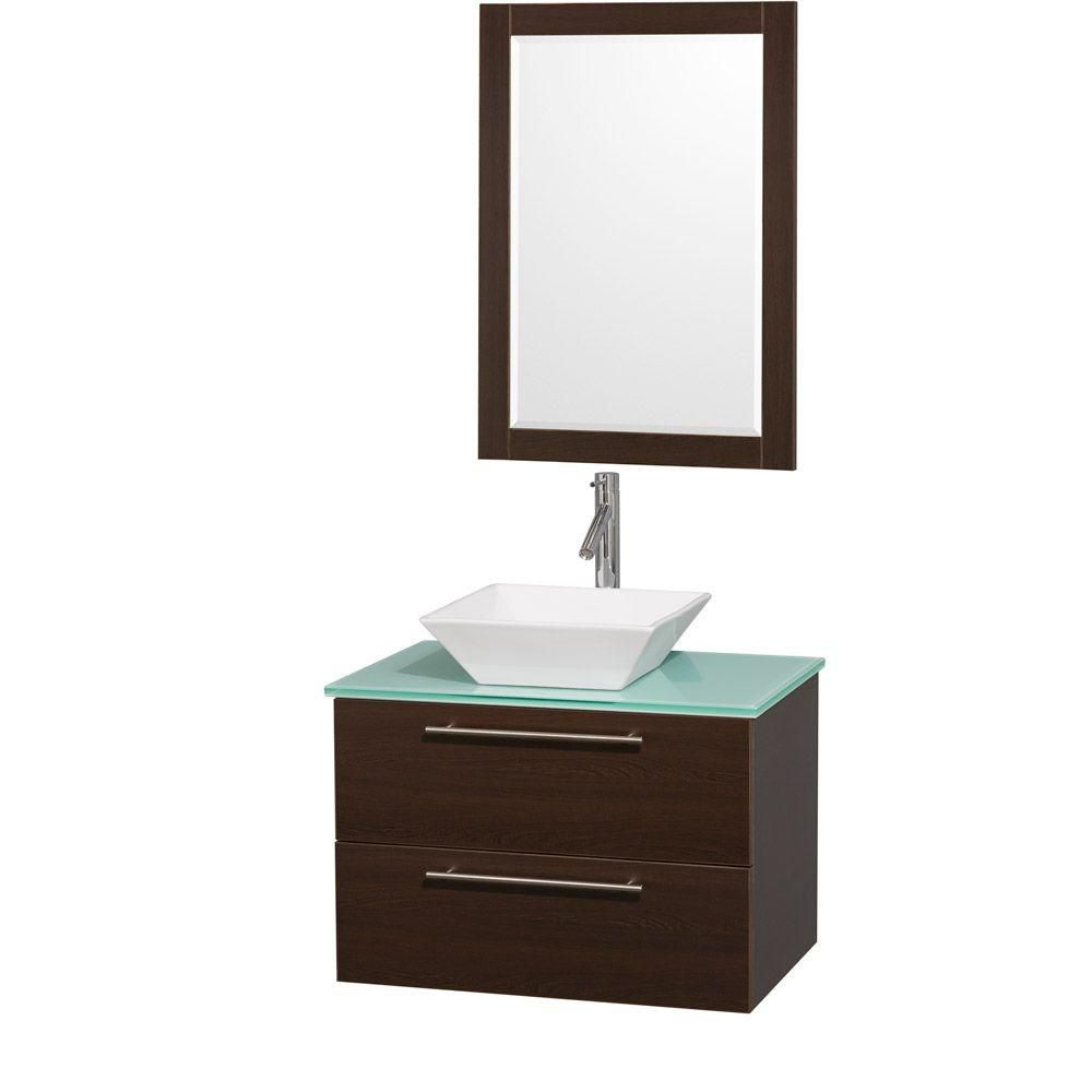 Amare 30-inch W Vanity in Espresso with Glass Top in Aqua and White Porcelain Sink