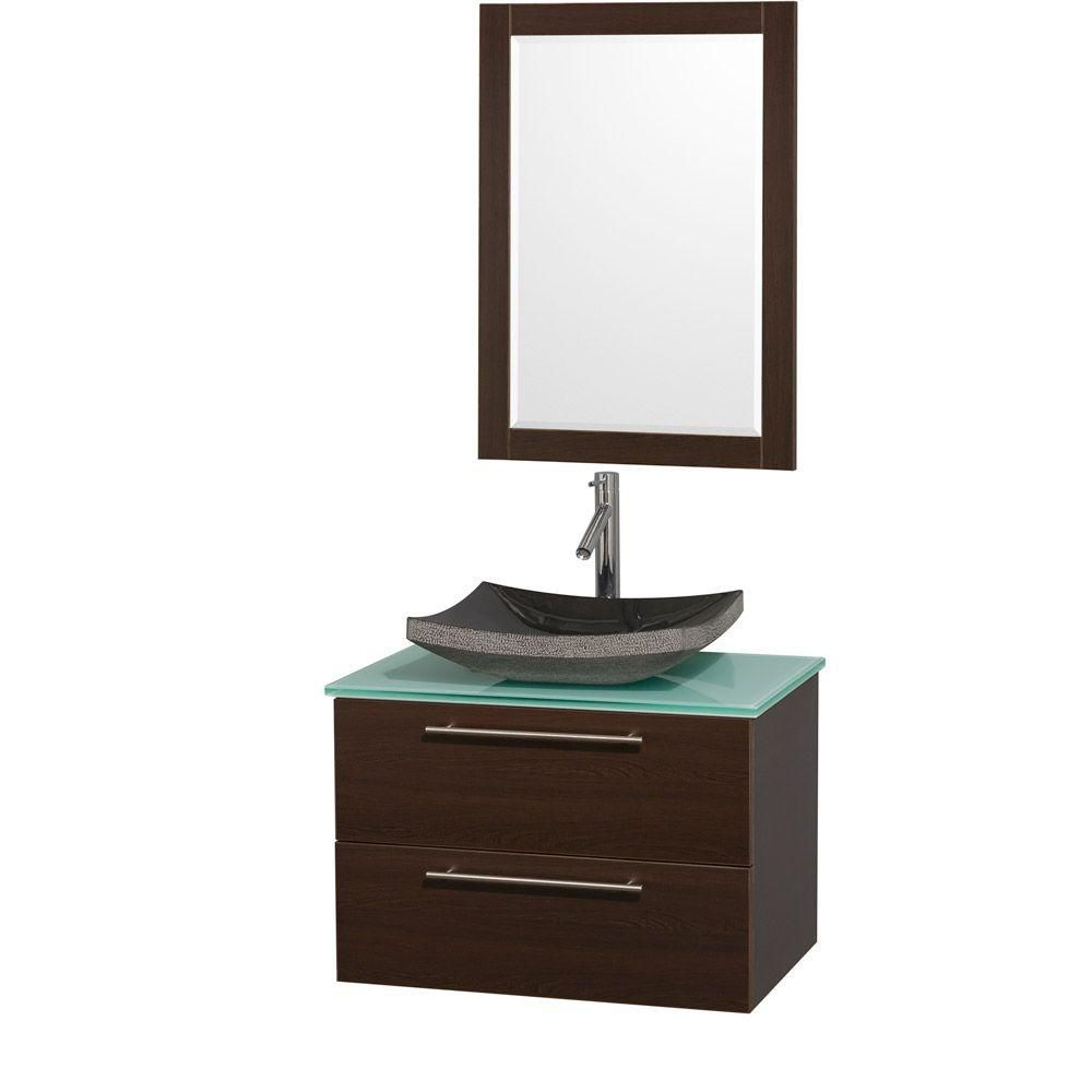 Amare 30-inch W Vanity in Espresso with Glass Top in Aqua and Black Granite Sink