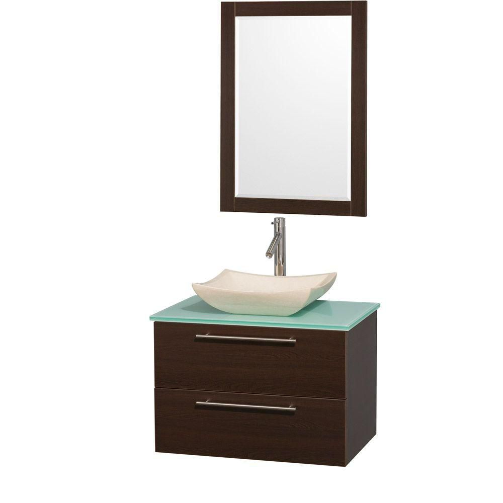Wyndham Collection Amare 30-inch W 2-Drawer Wall Mounted Vanity in Brown With Top in Green With Mirror