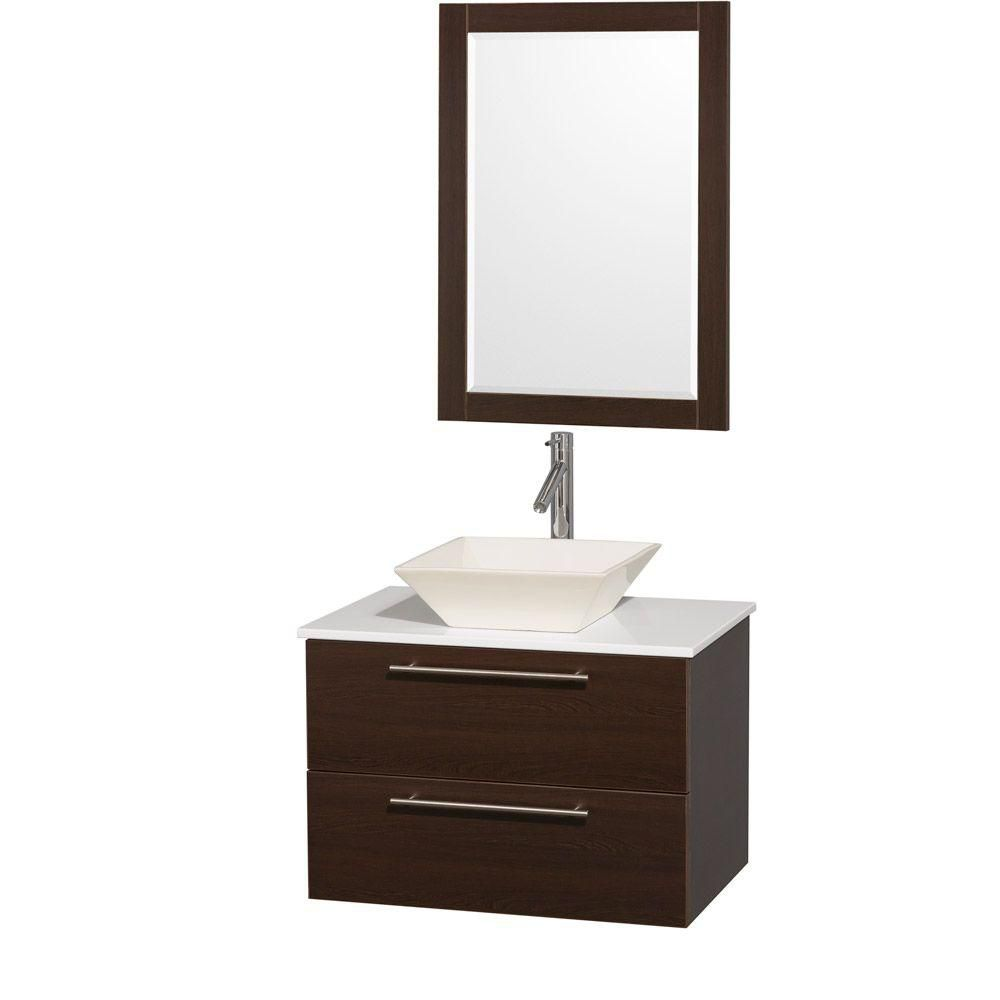 Amare 30-inch W Vanity in Espresso with Stone Top in White and Bone Porcelain Sink
