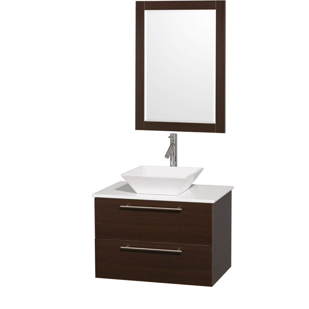 Amare 30-inch W Vanity in Espresso with Stone Top in White and Porcelain Sink