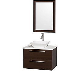 Wyndham Collection Amare 30-inch W 2-Drawer Wall Mounted Vanity in Brown With Artificial Stone Top in White