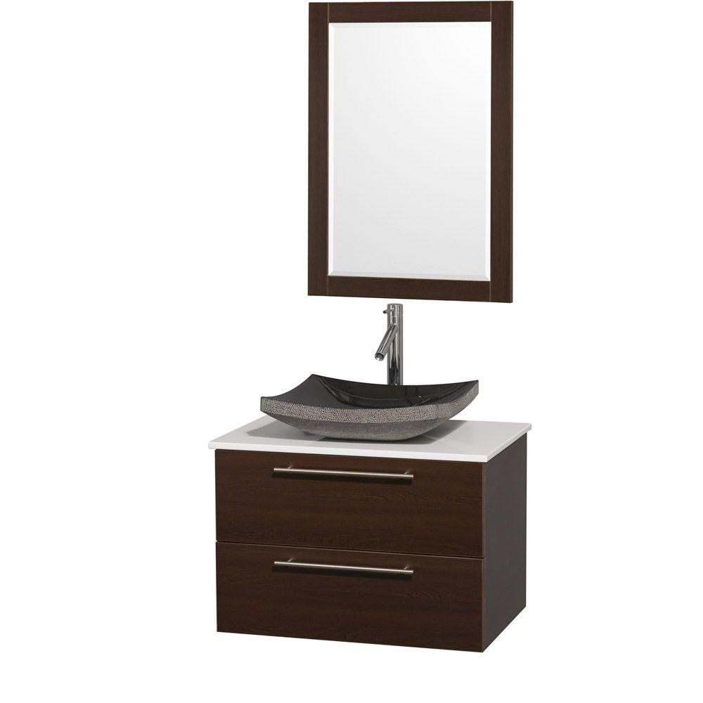 Amare 30-inch W Vanity in Espresso with Stone Top in White and Black Granite Sink