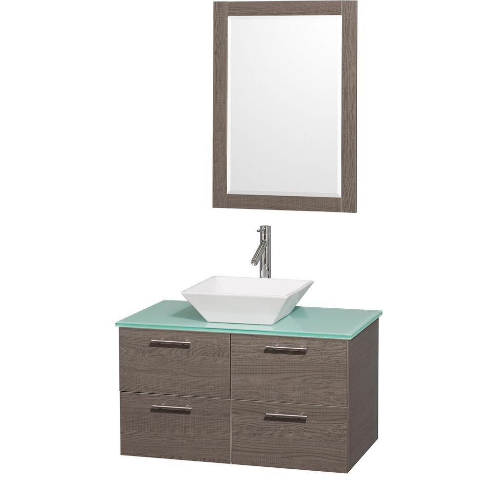 Amare 36-inch W Vanity in Grey Oak with Glass Top in Aqua and White Porcelain Sink