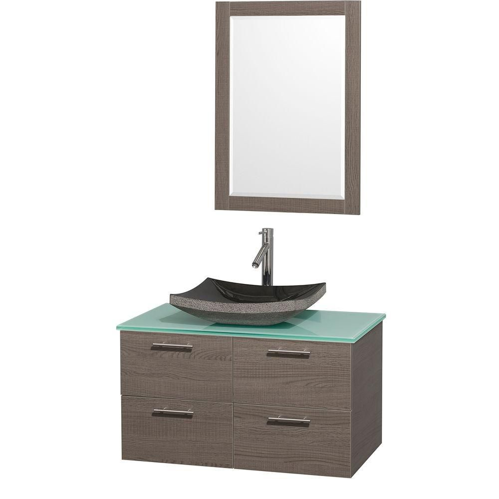 Amare 36-inch W Vanity in Grey Oak with Glass Top in Aqua and Black Granite Sink