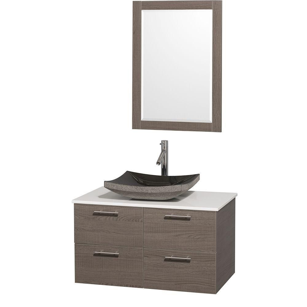 Amare 36-inch W Vanity in Grey Oak with Stone Top in White and Black Granite Sink