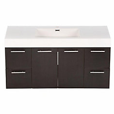 Amare 48-inch Vanity in Espresso with Acrylic-Resin Vanity Top in White and Integrated Sink