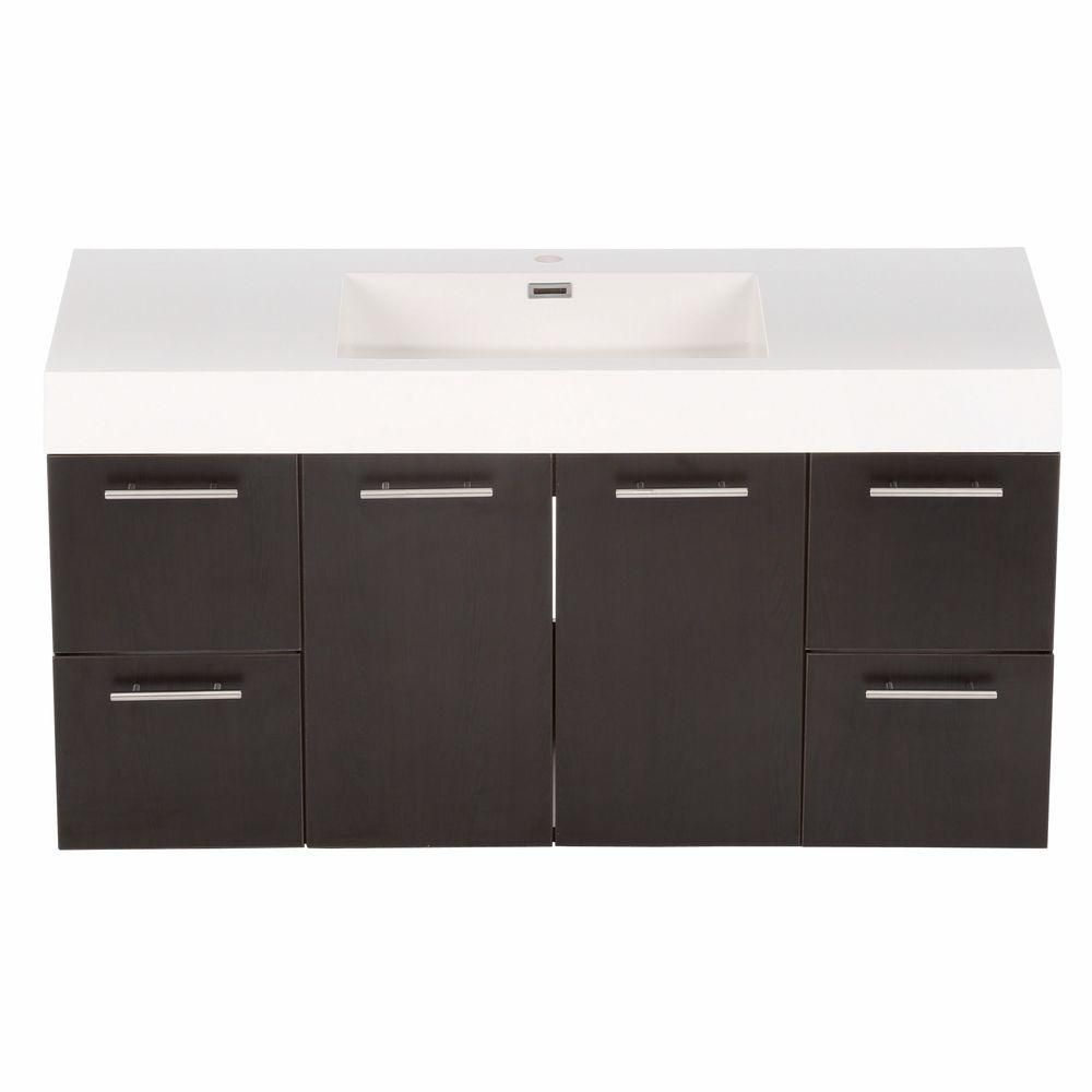 Amare 48-inch W Vanity in Espresso with Acrylic-Resin Top in White and Integrated Sink