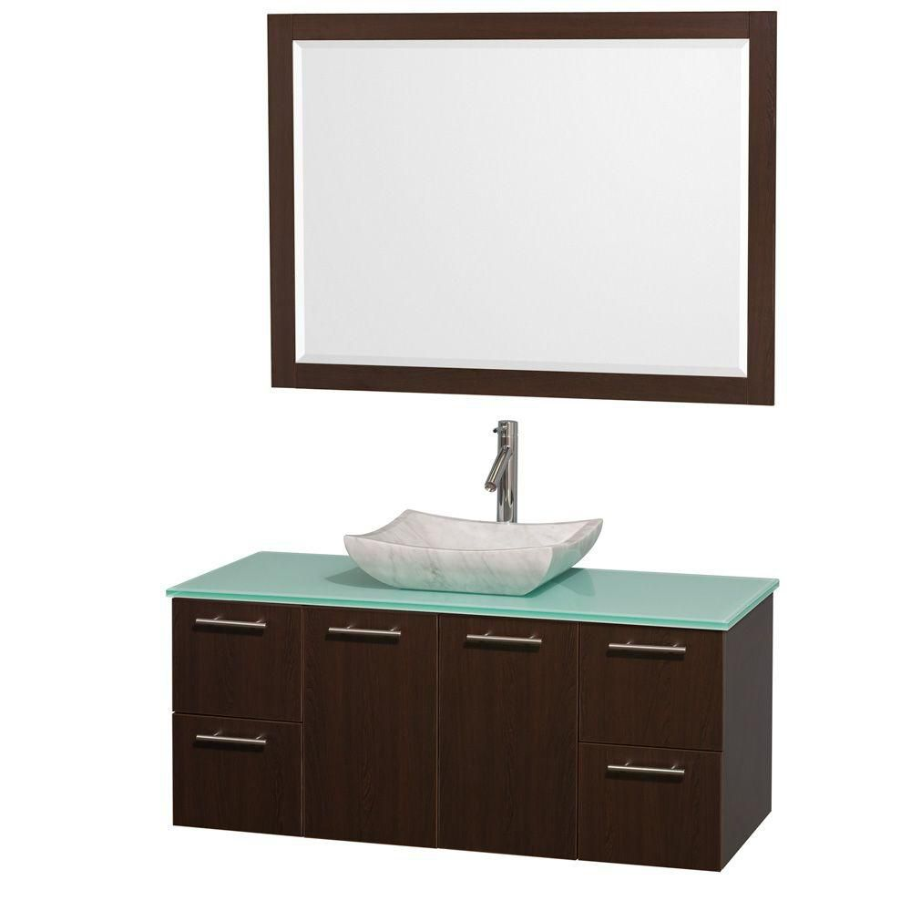 Amare 48-inch W Vanity in Espresso with Glass Top in Aqua and Carrara Marble Sink