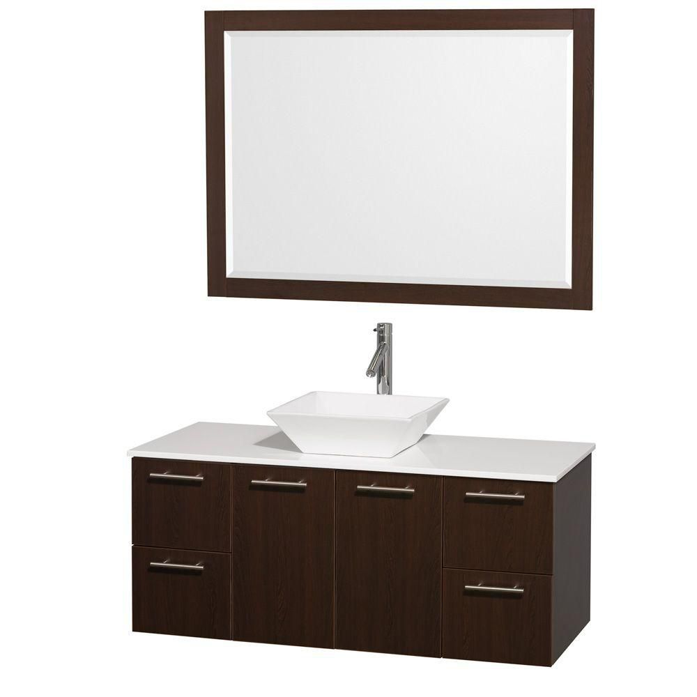 Amare 48-inch W Vanity in Espresso with Stone Top in White and Porcelain Sink